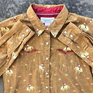 Wrangler Cowboy Print Western Pearl Snap Shirt
